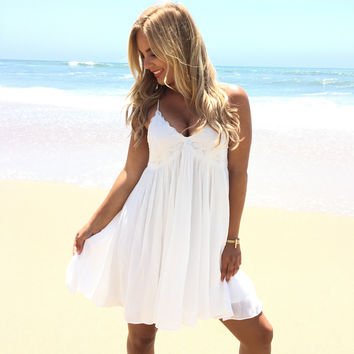 Destination Vacation Dress In White