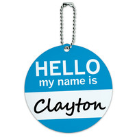 Clayton Hello My Name Is Round ID Card Luggage Tag