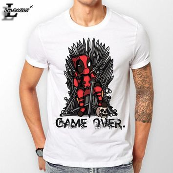 """New 2017 """"GAME OVER"""" Deadpool Printed T-Shirt Anime Casual Workout All-Match Men O-Neck T-shirts Funny Cool Loose Tops H1103"""