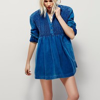 Free People Blue Rain Smocked Top