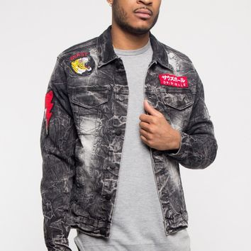 Acid Wash King Applique Patch Jean Jacket