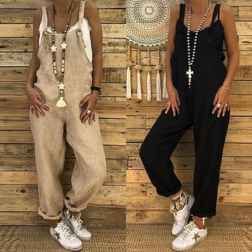 2018 ZANZEA Plus Size Linen Bib Overalls Women Casual Jumpsuits Backless Rompers Playsuit Female Harem Pants Macacao Feminino