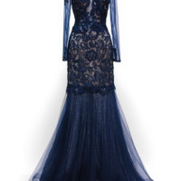 KC131555 Navy Long Sleeve Lace Prom Dress by Kari Chang Couture