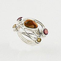Mexican Fire Opal, Garnet & Citrine Sterling Silver Ring
