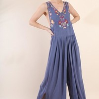 Dusty Purple Floral Embroidered Wide Leg Jumpsuit