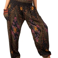 Boho Harem Yoga Pants - Floral Black