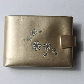 retro gold wallet never used in box // vintage amity rolfs leather wallet // womens wallet flowers // NOS