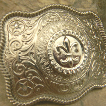 Fleur De Lis Belt Buckle, Silver Western Engraved Womens Mens Belt Buckle, Mardi Gras Silver Belt, New Orleans Saints