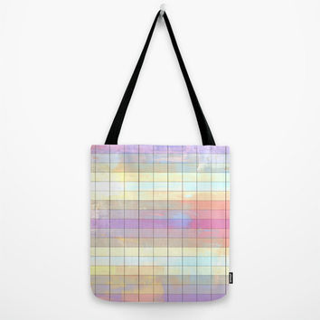 Color Grid Tote Bag - FREE shipping to USA polyester poplin fabric shoulder market bags colorful pastels pattern print cute girly shopping
