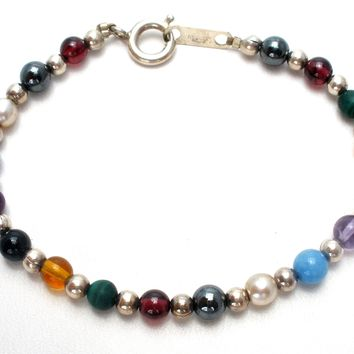 Sterling Silver Gemstone Bead Child's Bracelet by Jordan