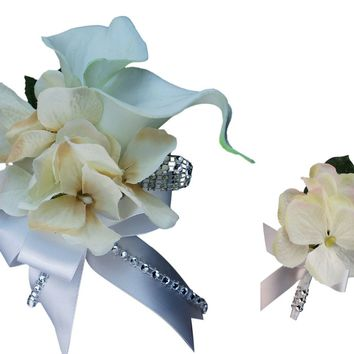 2pc set wrist  corsage and Boutonniere