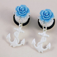 "PAIR White Anchor With Blue Rose Dangle Ear Plugs / Gauges - 10mm 00g , 12mm 1/2"" , 14mm 9/16"""