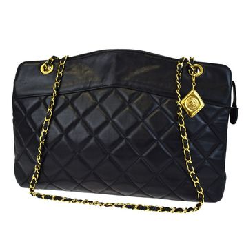 Auth CHANEL CC Charm Quilted Chain Shoulder Bag Leather Black Vintage 10F043