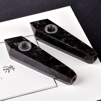 Natural Black Amethyst Crystal Smoking Pipe