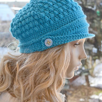Crocheted  PEAKED CAP beanie Slouchy Winter Fashion , very warm, amaranth,blue,turquoise, women slouchy hat,Girls Hat,unique gifts