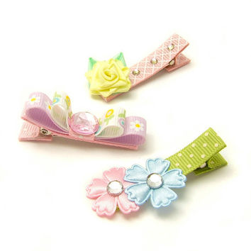 Spring Hair Clips for Girls, Spring Flower Hair Clips, Fancy Hair Clips for Spring, Shabby Chic Hair Clips, Lavender, Pink, Blue, Yellow