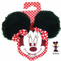 Disney Parks Minnie Mouse Plush Ears Hair Clips Set of 2 (Comes Sealed) - Disney Parks Exclusive & Limited Availability BONUS Minnie Figure