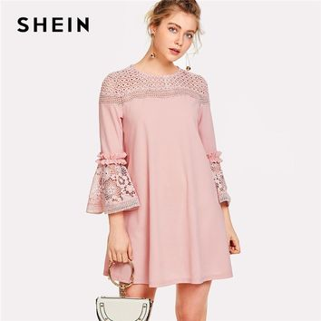 SHEIN Eyelet Crochet Lace Detail Frill Trim Dress 2018 Summer Round Neck Butterfly Sleeve Dress Women Pink Elegant Ruffle Dress