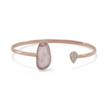 Rose Quartz & CZ Open Cuff Bracelet in 14K Rose Gold Plated Sterling Silver