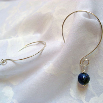 Lapis Lazuli Hoop Earrings, Open Hoop Earrings, 925 Sterling Silver, Dangle Stone Hoop Earrings, Wire Handcrafted Earrings, Light Weight