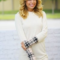 Taupe Plaid Hooded Tunic
