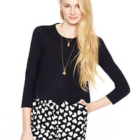 Kate Spade Ponte Scallop Crop Top Black