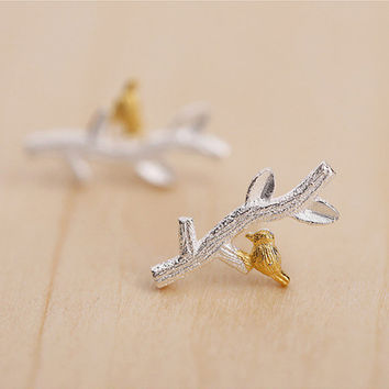 Cute Bird Branch Earrings, Sterling Silver Bird Stud Earrings,Bird earrings,twig earrings,gift for her,Bird jewelry,tree jewelry