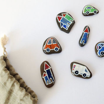 Car Set handpainted stone play kit with handmade and handprinted linoleum bag - gift idea for a child