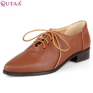 QUTAA New Style Oxford Shoes For Women Flat Boots For Women Shoes Leather Boots Oxfords Low Heel Ankle Boots Heels size 34-43