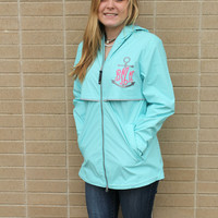 Monogram Rain Jacket Aqua Blue Charles River Rain Wear