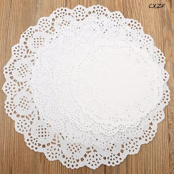 "100pcs/pack Creative Craft 5.5"" Inch Round White Paper Lace Doilies Cake Placemat Party Wedding Gift Decoration"