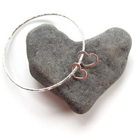 2 Hearts, Sterling Silver Bangle, Valentines Day Gift, Custom, Hammered Hearts , Wedding Bracelet, Hawaii Beach Jewelry, Love, Gift for Her