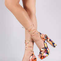 Twisted Lace-Up Chunky Platform Heel