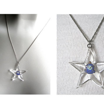 WWII Jewelry, Sweetheart Pendant, Royal Canadian Air Force Sterling Silver Pendant, Necklace, Military Jewelry, Lucite Star, Accessory