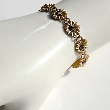 Sunflower Bracelet,Brushed Gold Tone Link Flower Bracelet,Summer Boho Festival Jewelry