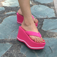 2017 Sexy Women Beach Platform Flip Flops Ladies Casual Wearing Wedges Sandals High Heels Skidproof Beach Bathing Shoes
