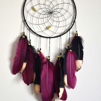 Maroon Black Dream Catcher Decor, Bohemian Feather Dreamcatcher, Boho Dream Catcher,  Wall Hanging Decor, Bedroom  Decor