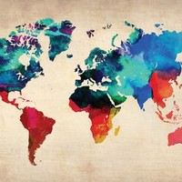 World Watercolor Map 1 Poster by NaxArt 19 x 13in