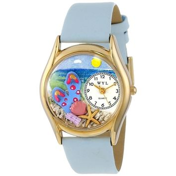SheilaShrubs.com: Women's Flip-flops Bay Blue Leather Watch C-1210013 by Whimsical Watches: Watches