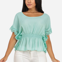 Mint Poncho Blouse with Crocheted Trim