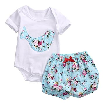 2017 Newborn Baby Boy Girl Clothes Floral Infant Bebes Romper Bodysuit and Bloomers Bottom 2pcs Outfit Bebek Giyim Clothing