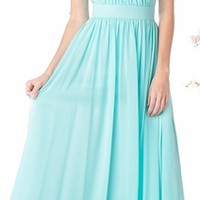 Halter Top Semi Formal Dress Mint Chiffon Pleated (4 Colors Available)