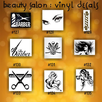 BEAUTY SALON vinyl decals - 127-135 - vinyl stickers - custom car window stickers - car decal - car sticker - beauty shop - spa