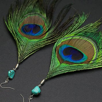Peacock feather earring Turquoise stone Peacock earrings Statement jewelry Statement earring Iridescent feather Boho Bohemian Hippie earring