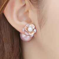 Flower and Pearl Statement Ear Cuffs - LilyFair Jewelry