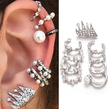 9 Pcs/set Fashion Personality Bohemia Style Zircon Pearl Earrings 171120