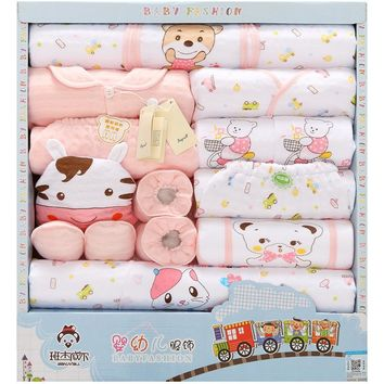 18 Pcs/Lot Baby gift Set Newborn Boys and Girls Soft cotton baby set cartoon Print unisex baby Cotton clothing TZ-011