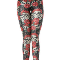 Cool Sweat Punk Skull Flower Leggings Digital Print Tight Yoga Leggings