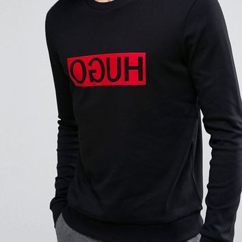HUGO by Hugo Boss Dicago Sweat Crewneck Reverse Logo in Black at asos.com