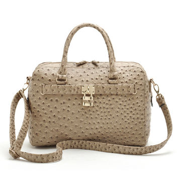 Beige Faux Leather Bowling Bag